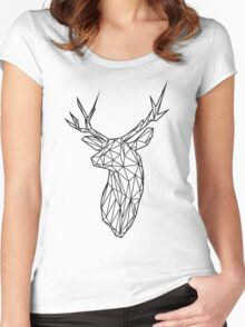 Black Wire Faceted Stag Trophy Head Women's Fitted Scoop T-Shirt