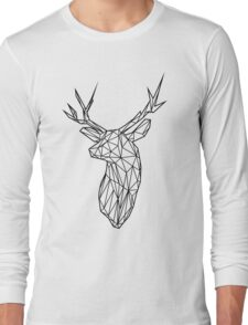 Black Wire Faceted Stag Trophy Head Long Sleeve T-Shirt