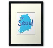 SEOUL (South Korea capital) map with love heart in blue Framed Print