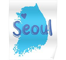 SEOUL (South Korea capital) map with love heart in blue Poster