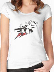 Cartoon crazy jet fighter Women's Fitted Scoop T-Shirt