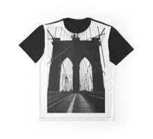 Brooklyn Bridge New York Black & White Silhouette Graphic T-Shirt