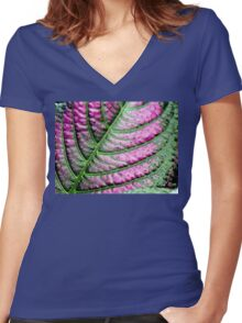 Iridescent Colorful Leaf Women's Fitted V-Neck T-Shirt
