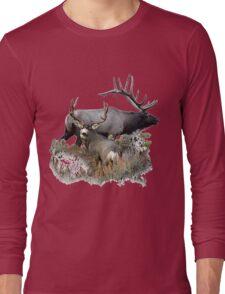 Bull elk and mule deer buck Long Sleeve T-Shirt