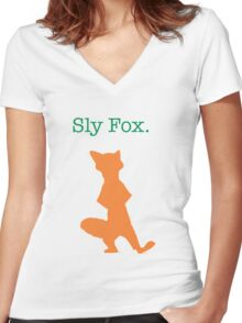 Zootopia / Zootropolis - Nick Wilde Sly Fox Women's Fitted V-Neck T-Shirt