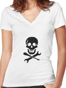 Mechanic Pirate Women's Fitted V-Neck T-Shirt