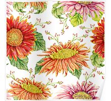 Seamless pattern with watercolor gerbera flower.  Poster