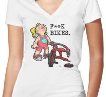 F**K Bikes. Women's Fitted V-Neck T-Shirt