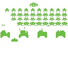 space invaders green Photographic Print