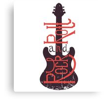 Electric guitar and lettering rock and roll with grunge effect. Canvas Print