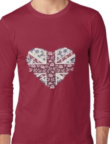 Floral Union Jack Heart Long Sleeve T-Shirt