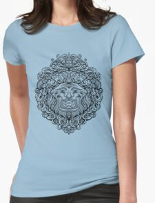 Lion Head with abstract floral ornament in baroque style Womens Fitted T-Shirt