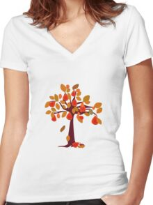 Pear Tree red Women's Fitted V-Neck T-Shirt