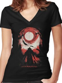 And so the Nightly Hunt begins Women's Fitted V-Neck T-Shirt