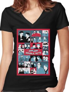 British Comedy Double Acts Women's Fitted V-Neck T-Shirt