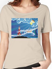 Lighthouse and Boat in the Sea 3 Women's Relaxed Fit T-Shirt