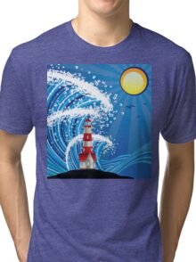 Lighthouse in the Sea 3 Tri-blend T-Shirt