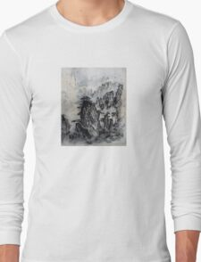 Deep in the Mountains - Famous Japanese Tanka Poetry and Painting Long Sleeve T-Shirt