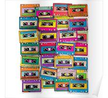 Retro Cassettes Music Poster