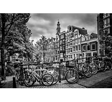 AMSTERDAM Flower Canal black & white Photographic Print