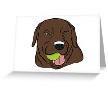 Chocolate Lab with Ball  Greeting Card