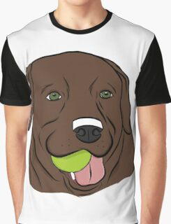 Chocolate Lab with Ball  Graphic T-Shirt