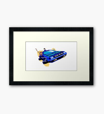 Back to the Future/ Doctor Who DeLorean Tardis Mashup Framed Print