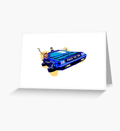 Back to the Future/ Doctor Who DeLorean Tardis Mashup Greeting Card
