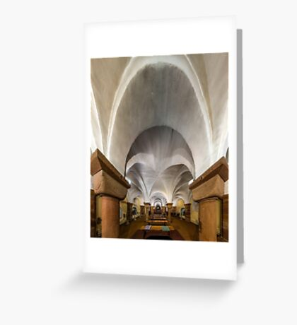 Majestic medieval cathedral interior view, old gothic church  Greeting Card