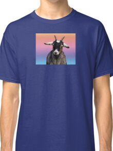 Baby goat on a rainbow background Classic T-Shirt