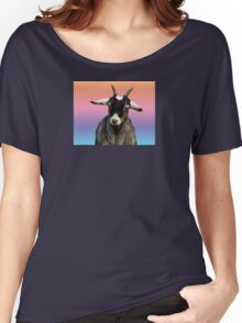 Baby goat on a rainbow background Women's Relaxed Fit T-Shirt