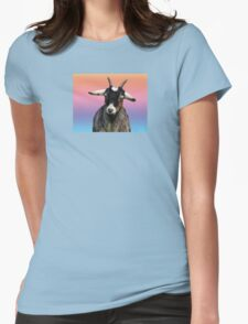 Baby goat on a rainbow background Womens Fitted T-Shirt