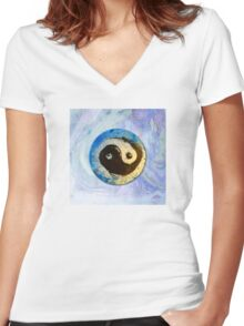 Yin Yang - Chinese Symbol in Ink and Pigments Women's Fitted V-Neck T-Shirt