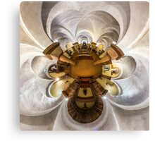 Kaleidoscope view of gothic church interior, little planet effect of panoramic shot.  Canvas Print