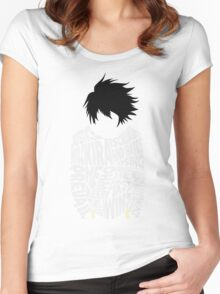 Death Note - L - Typography  Women's Fitted Scoop T-Shirt