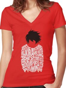 Death Note - L - Typography  Women's Fitted V-Neck T-Shirt