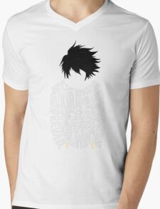 Death Note - L - Typography  Mens V-Neck T-Shirt