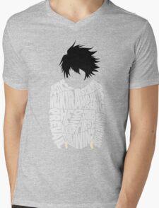 Death Note - L - Typography  Mens V-Neck T-Shirt