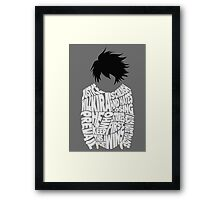 Death Note - L - Typography  Framed Print