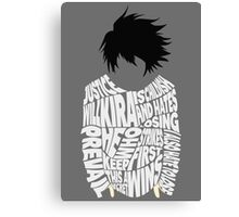 Death Note - L - Typography  Canvas Print