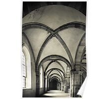 Majestic medieval cathedral interior view, old gothic church Poster