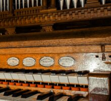 Beautiful old pipe organ in medieval cathedral Sticker