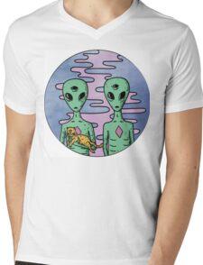 Alien Twins Mens V-Neck T-Shirt
