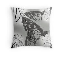 Grey Butterflies Throw Pillow