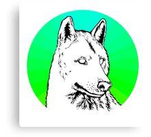Wolf - Blue & Green Canvas Print