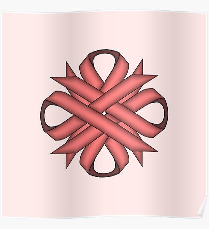 Pink Clover Ribbon Poster