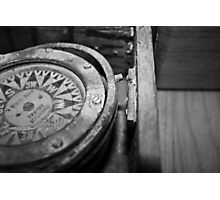 Black and White Compass Photographic Print