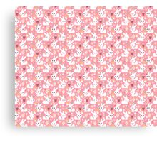 Easter Bunny Pink Pattern Canvas Print