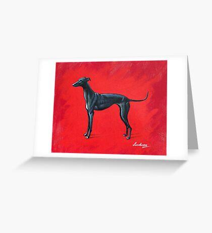 Black Greyhound Greeting Card