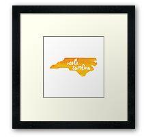 North Carolina - yellow watercolor Framed Print